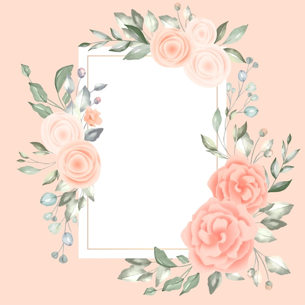 Lovely floral frame with vintage card Free Vector