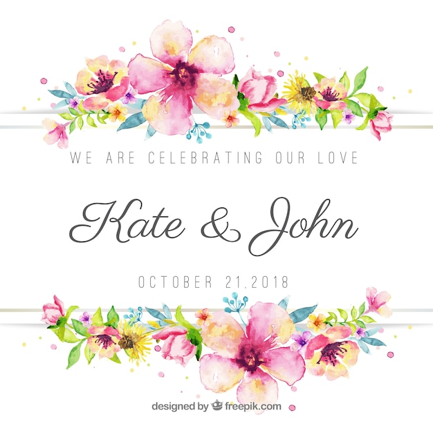 Lovely floral watercolor wedding background Free Vector