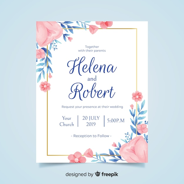 Lovely floral wedding invitation with golden frame Free Vector