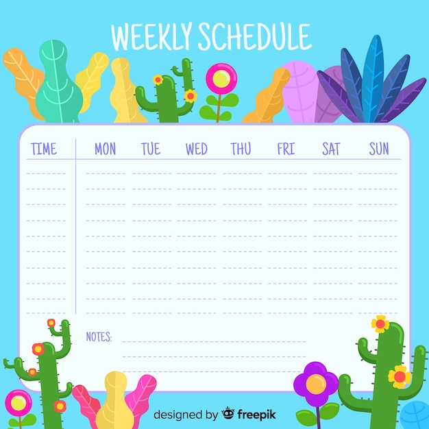 Lovely floral weekly schedule with flat design Free Vector