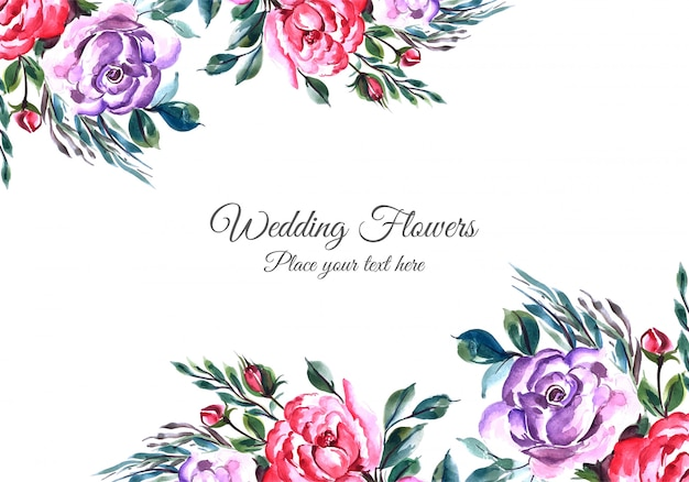 Lovely flowers frame with widding card template Free Vector