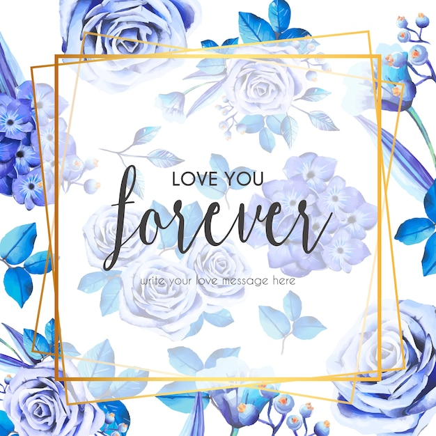 Lovely frame with blue roses and leaves Free Vector