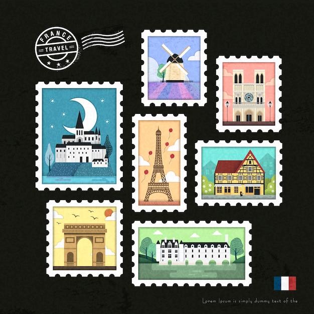 素敵なフランスのアトラクション切手コレクションセットデザイン Premiumベクター