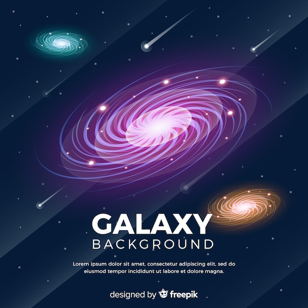 Lovely galaxy background with flat design Free Vector
