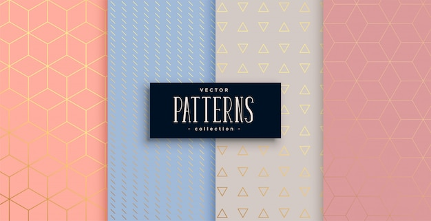 Lovely geometric pastel and gold pattern set Free Vector