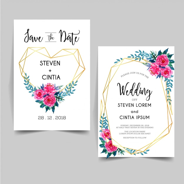 Lovely geometric watercolor floral wedding invitation Premium Vector