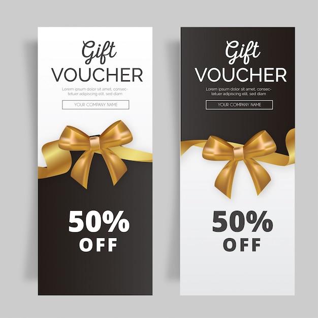 Lovely gift voucher with golden ribbon Free Vector