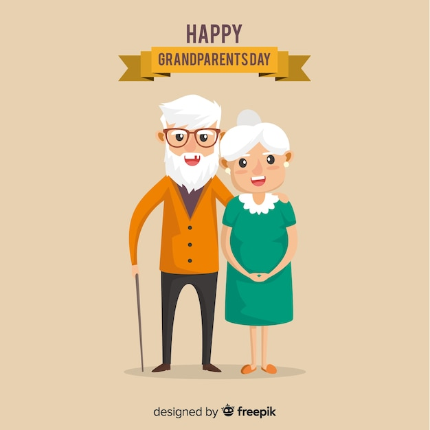 Lovely grandparents day composition with flat design Free Vector