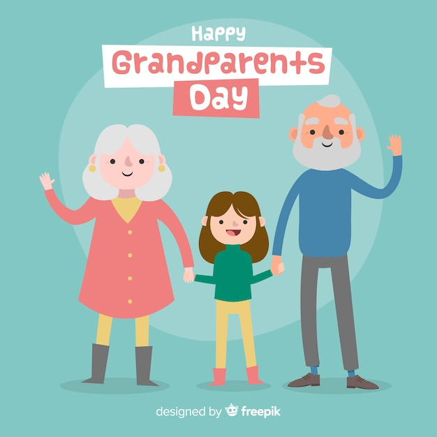 Lovely grandparents' day composition with flat design Free Vector