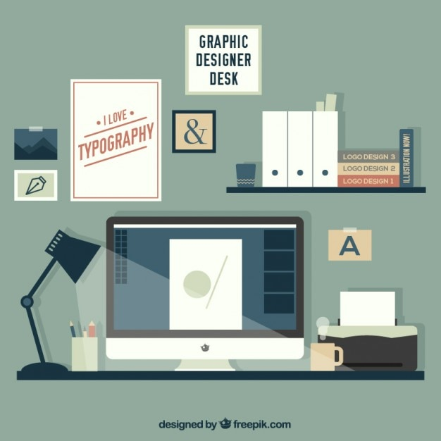 lovely graphic designer desk free vector - Graphic Design Desks