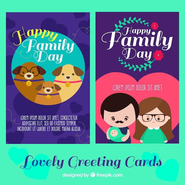 Lovely greeting cards for international day of families vector lovely greeting cards for international day of families free vector m4hsunfo