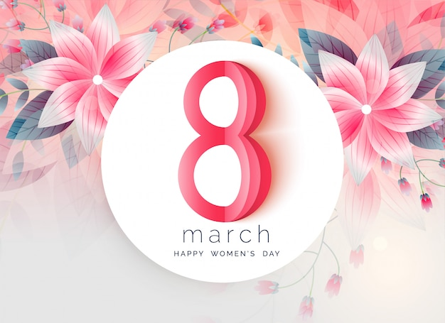 Lovely greeting design of women's day Free Vector