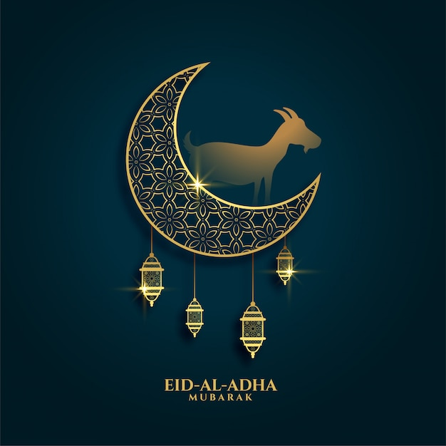 Lovely greeting of eid al adha festival background Free Vector