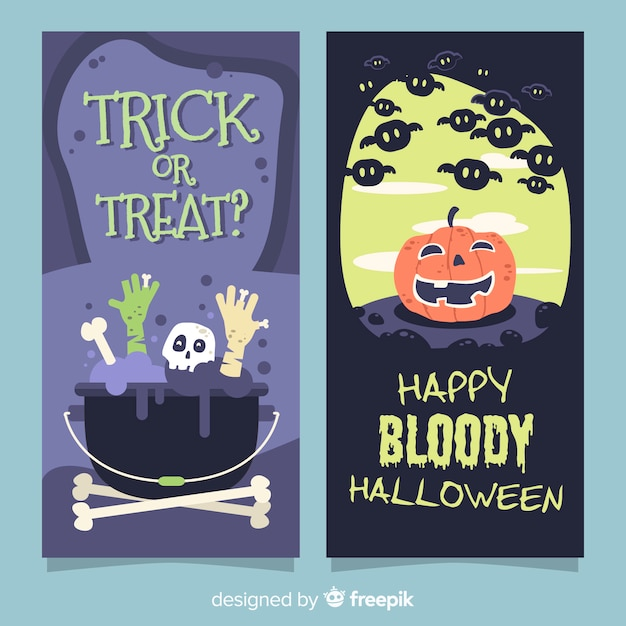 Lovely halloween banners with flat design Free Vector