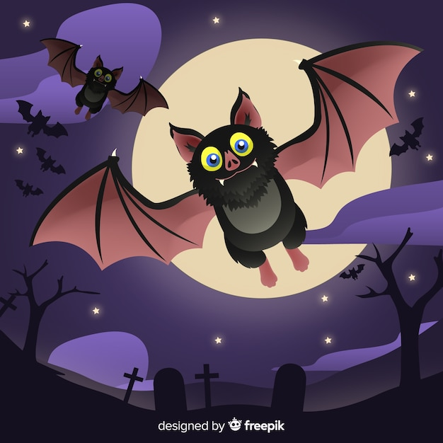 Lovely halloween bat with flat design Free Vector