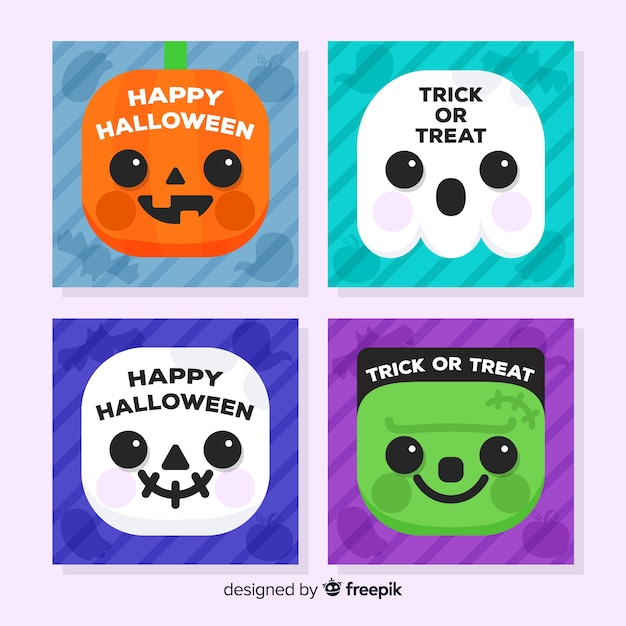 Lovely halloween card collection with flat design Free Vector