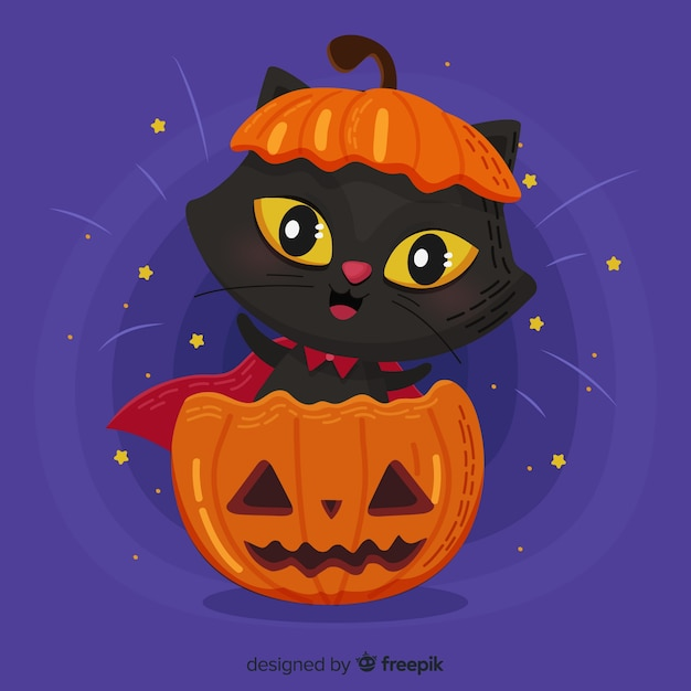 Lovely halloween cat with flat design Free Vector