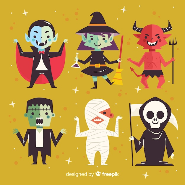 lovely halloween character collection with flat design vector free
