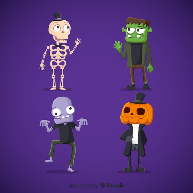 Lovely halloween character collection with flat design Free Vector