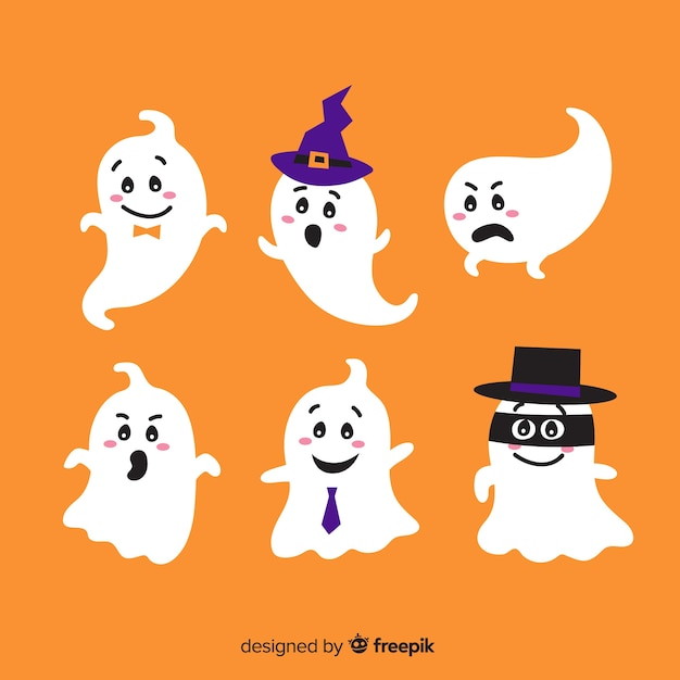 Lovely halloween ghost collection with flat design Free Vector
