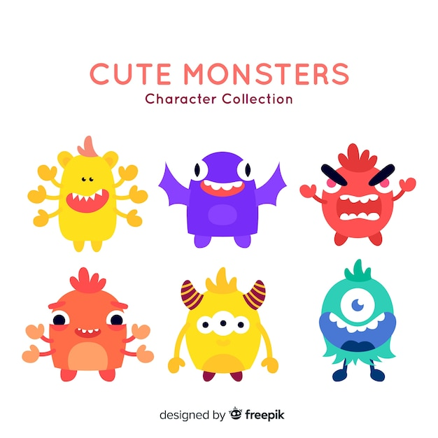 lovely halloween monster collection with flat design free vector