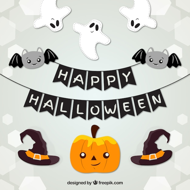 Halloween Party Items.Free Vector Lovely Halloween Party Items