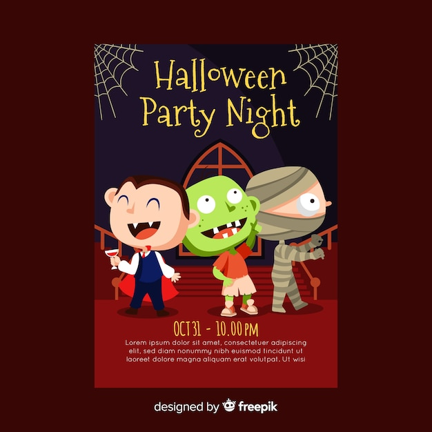 Lovely halloween party poster template with flat design Free Vector
