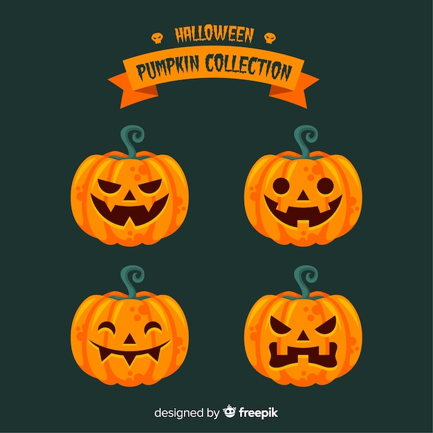 Lovely halloween pumpkin collection with flat design Free Vector