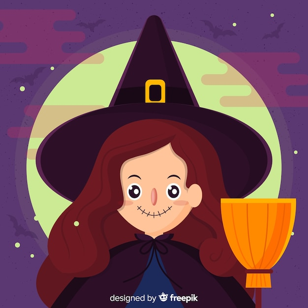 Lovely halloween witch background Free Vector