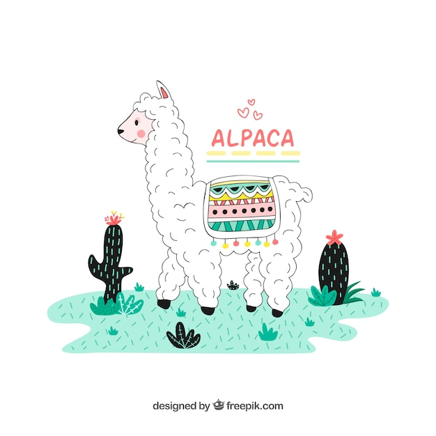 Lovely hand drawn alpaca character Free Vector