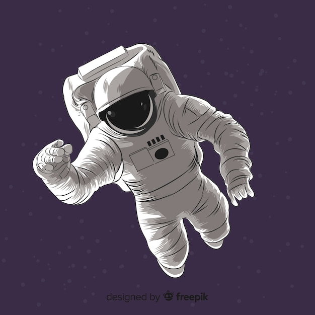 Lovely hand drawn astronaut character Free Vector