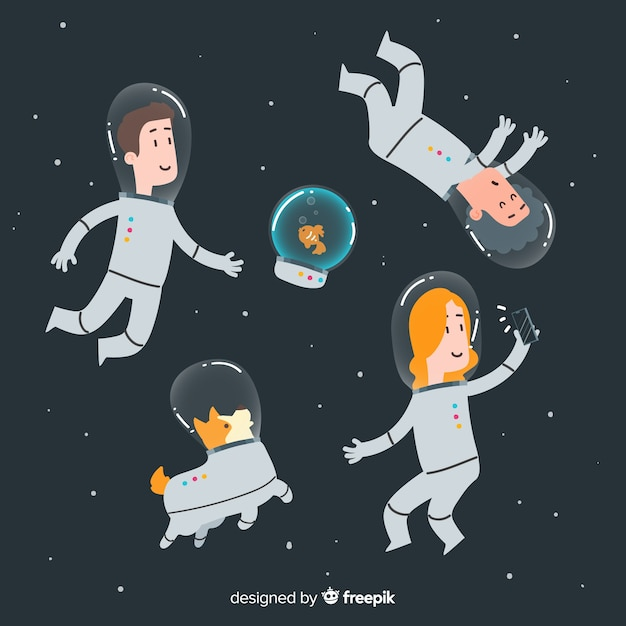 Lovely hand drawn astronaut characters Free Vector