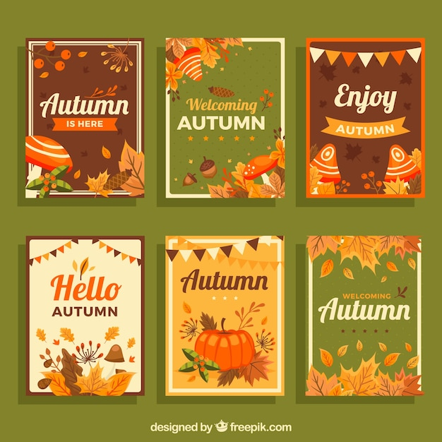 Lovely hand drawn autumn card collection Free Vector