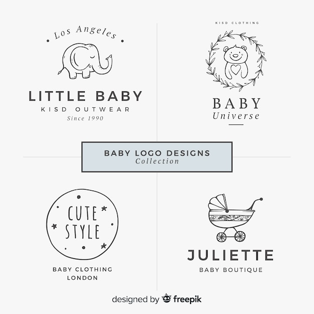 Lovely hand drawn baby logo collection Free Vector