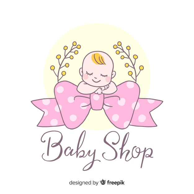 Lovely hand drawn baby logo template Free Vector