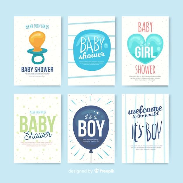 Прекрасная коллекция детских карточек для душа Бесплатные векторы