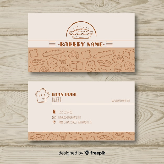 Lovely hand drawn business card template Free Vector