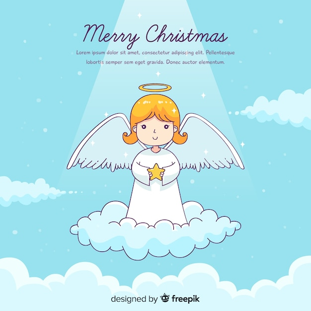 Lovely hand drawn christmas angel Free Vector