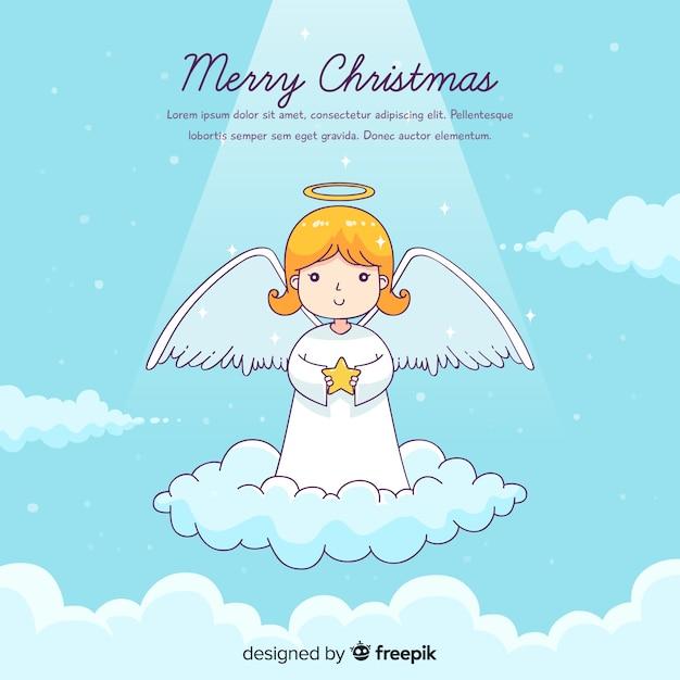 사랑스러운 손으로 그린 크리스마스 천사 무료 벡터