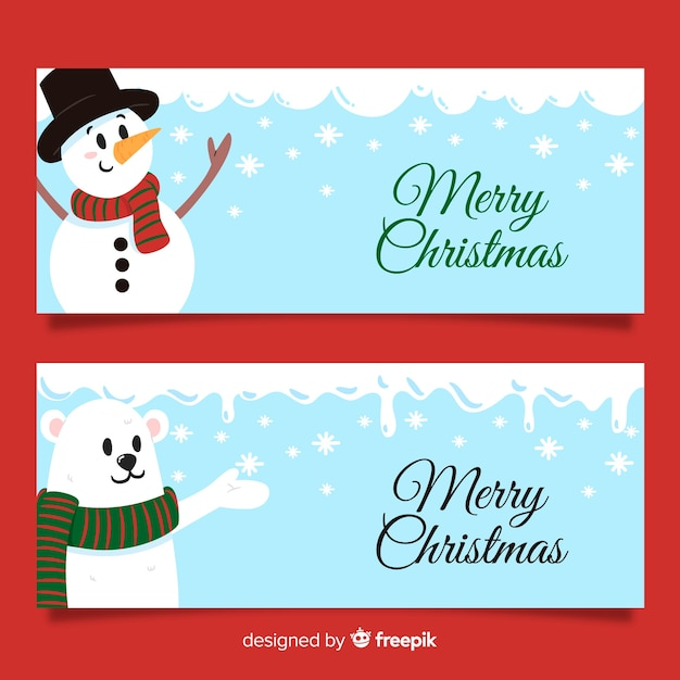 Lovely hand drawn christmas banners Free Vector