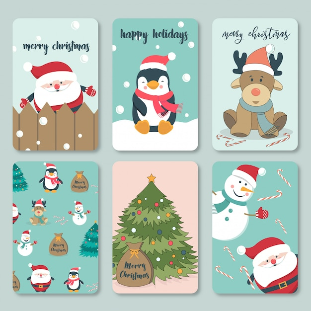 Lovely hand drawn christmas card collection Premium Vector
