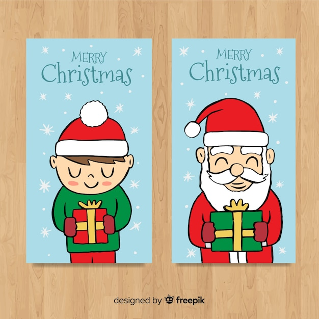 Lovely hand drawn christmas card collection Free Vector