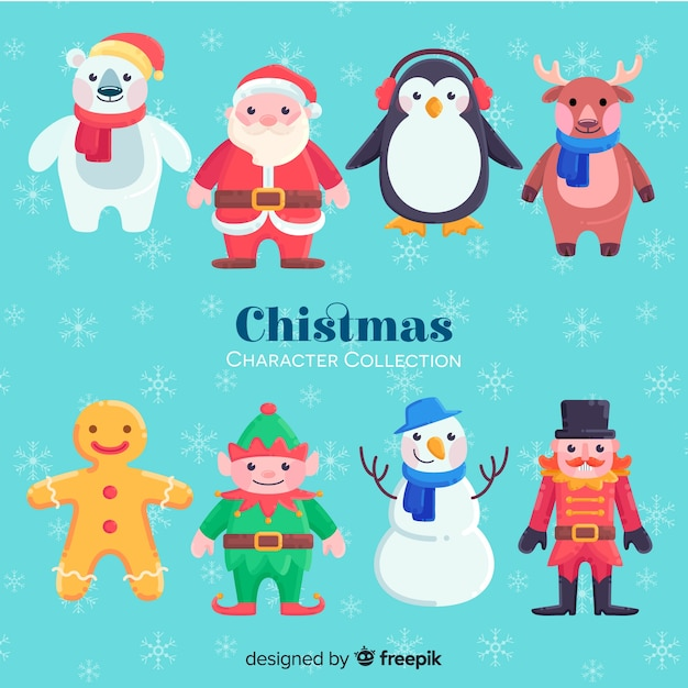 Lovely hand drawn christmas character collection Free Vector