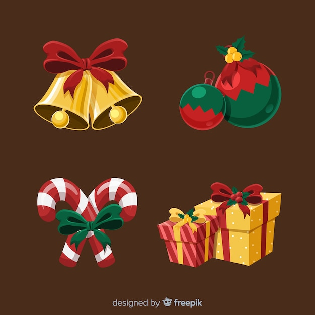 Lovely hand drawn christmas element collection Free Vector