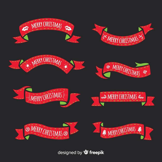 Lovely hand drawn christmas ribbon collection Free Vector
