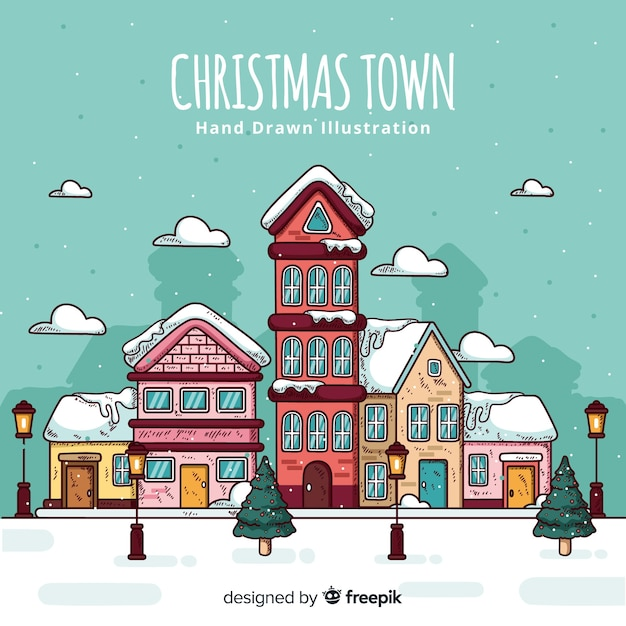 Lovely hand drawn christmas town Free Vector