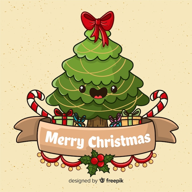 Lovely hand drawn christmas tree character Free Vector
