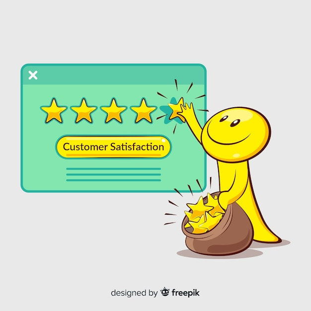 Lovely hand drawn customer satisfaction composition Free Vector