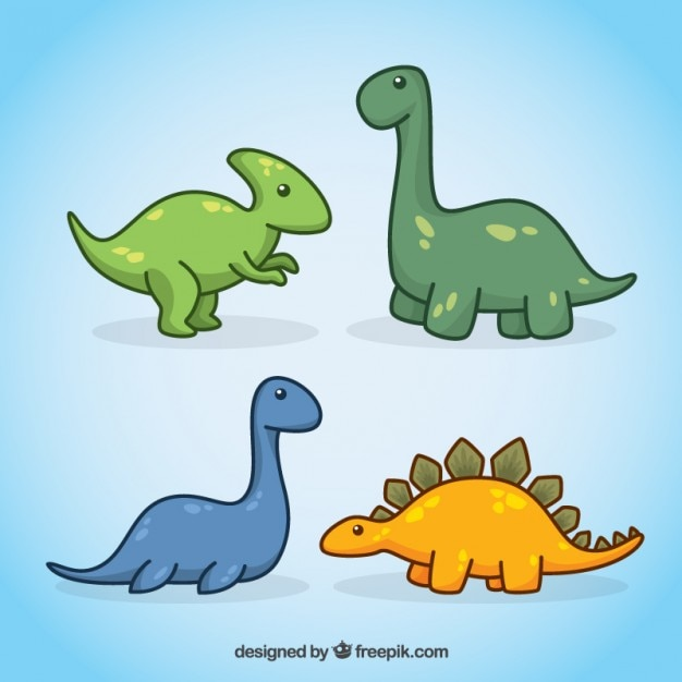 Lovely hand drawn dinosaurs