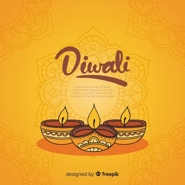 Lovely hand drawn diwali background Free Vector